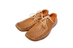 Men's summer shoes. Light brown color on white background Stock Photos