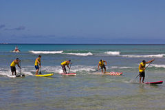 Men's SUP Race. Event:  C4 Waterman Go Pro SUP, 2011 Duke Kahanamoku Ocean Fest Stock Photo