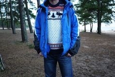 Men`s sweater with deer. Warm and beautiful sweater with drawings of deer. Details and close-up stock photos