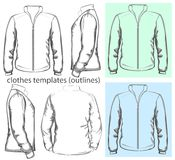 Men's sweatshirt with zipper. Vector. Men's sweatshirt with zipper (back, front and side view). Outlines Stock Photo