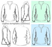 Men's sweatshirt with zipper and pockets. Vector. Men's sweatshirt with zipper and pockets (back, front and side view). Outlines Stock Images