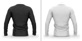 Men`s t shirt with long raglan sleeves. 3d rendering. Clipping paths included: whole object, collar, on white background. Shadows and highlights mock-up Royalty Free Stock Photos