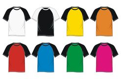 Men`s T-shirt Raglan Sleeve. Colorful, Vector Image Royalty Free Stock Image