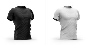 Men`s t shirt with round neck and raglan sleeves. 3d rendering. Clipping paths included: whole object, collar, sleeve. white background. Shadows highlights Stock Image