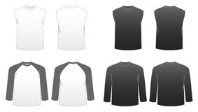Men's T-shirt Templates-Series 3. Men's long sleeved, baseball and muscle tees featuring front and back Stock Images