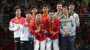 Men`s Tem Podium at the Olympic Games 2016 Stock Image