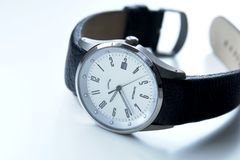 Men's Titanium Watch. Men's white faced titanium watch Stock Photos