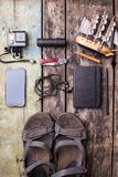 Men's travelling stuff mock up on wood background royalty free stock photos
