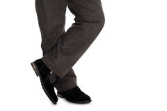 Men's trousers and suede shoes. Elegant men's trousers and suede shoes Stock Image