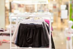 Men`s underwear in a boutique. Advertise, Sale and Fashion concept.  royalty free stock photography