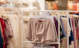 Men`s underwear in a boutique. Advertise, Sale and Fashion concept.  royalty free stock photo