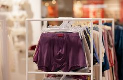 Men`s underwear in a boutique. Advertise, Sale and Fashion concept.  stock image