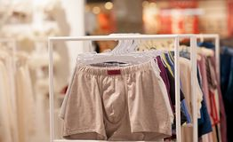 Men`s underwear in a boutique. Advertise, Sale and Fashion concept.  stock images