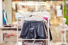 Men`s underwear in a boutique. Advertise, Sale and Fashion concept.  stock photo