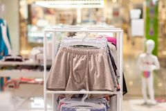 Men`s underwear in a boutique. Advertise, Sale and Fashion concept.  stock photos