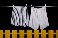 Men's underwear hanging on a clothesline Royalty Free Stock Photos