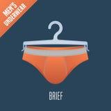 Men's underwear vector illustration. Men bikini, brief, slip underwear model. Clothing detail, design element on hanger display for retail Stock Image