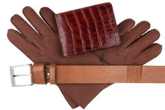 Men's wallet, belt and gloves Stock Photos