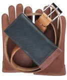 Men's wallet, belt and gloves Stock Photography