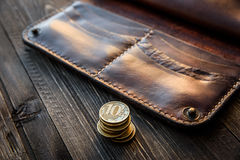 Men`s wallet money in cash wooden white vintage background Royalty Free Stock Photography