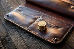 Men`s wallet money in cash wooden white vintage background Stock Images