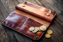 Men`s wallet money in cash wooden white vintage background Stock Photo