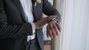 Men`s Watch On The Man`s Hands In a Suit stock footage