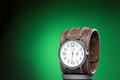 Men's watches with wide leather bracelet Royalty Free Stock Photo