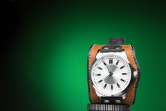 Men's watches with wide leather bracelet Royalty Free Stock Photography