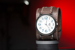 Men's watches with wide leather bracelet Royalty Free Stock Images