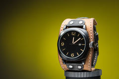 Men's watches with wide leather bracelet Stock Image