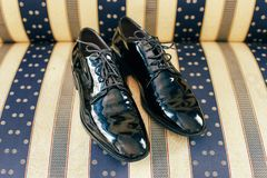 Men`s wedding accessories - shoes. Details for marriage and for married couple Stock Photos