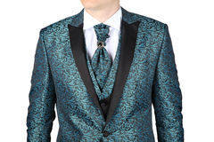 Men's wedding suit with floral patterned Stock Photos