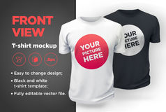 Men`s white and black t-shirt with short sleeve mockup. Front view Royalty Free Stock Photo