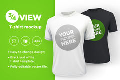 Men`s white and black t-shirt with short sleeve mockup. Front view. Vector template Stock Photography