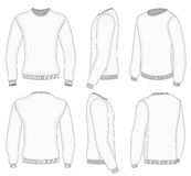 Men's white long sleeve t-shirt. All six views men's white long sleeve t-shirt design templates (front, back, half-turned and side views). Vector illustration Stock Photography
