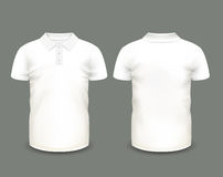 Men's white polo shirt short sleeve in front and back views. Vector template. Fully editable handmade mesh Royalty Free Stock Images