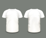 Men's white raglan t-shirt in front and back views. Vector template. Fully editable handmade mesh Stock Images