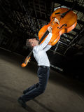 Men's white shirt with double bass player Stock Images