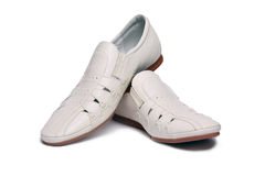 Men's white shoes Stock Photos