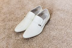 Men's white shoes. Mens shoes, white beautiful men's shoes, wedding shoes Stock Images