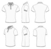 Men's white short sleeve polo shirt. All views men's white short sleeve polo shirt design templates (front, back, half-turned and side views). Ribbed collar Royalty Free Stock Images