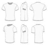 Men's white short sleeve t-shirt. All six views men's white short sleeve t-shirt design templates (front, back, half-turned and side views). Vector illustration Royalty Free Stock Image