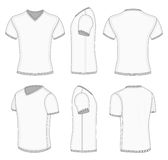 Men's white short sleeve t-shirt v-neck. All views men's white short sleeve t-shirt v-neck design templates. Vector illustration. No mesh. Ribbed collar, cuffs Stock Photography