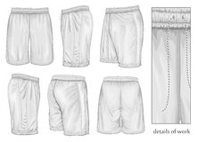Men's white sport shorts. Stock Photo