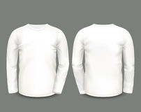 Men's white sweatshirt long sleeve in front and back views. Vector template. Fully editable handmade mesh royalty free illustration