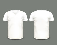 Men's white V-neck t-shirt short sleeve in front and back views. Vector template. Fully editable handmade mesh Royalty Free Stock Photos