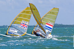 Men's windsurfing finals at the 2013 ISAF World Sailing Cup in M Stock Photo