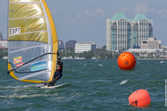 Men's windsurfing finals at the 2013 ISAF World Sailing Cup in M. Iami Royalty Free Stock Photography