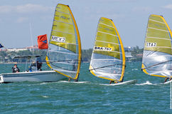 Men's windsurfing finals at the 2013 ISAF World Sailing Cup in M. Iami Stock Photography